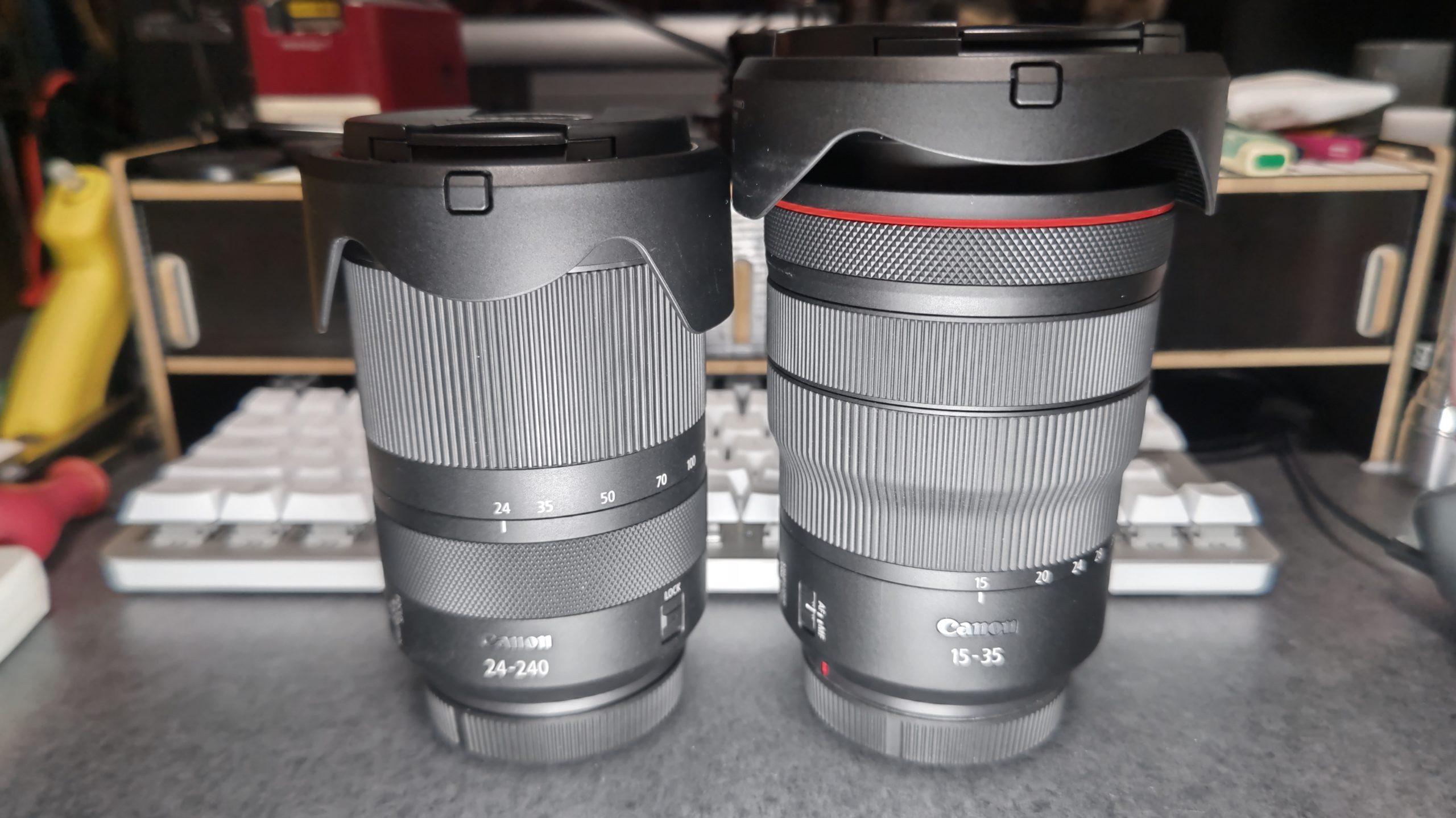 望遠ズームレンズと広角ズームレンズの伸び方比較、望遠レンズは広角端で収納、広角レンズは広角端で伸びる。RF24-240mm(望遠ズームレンズとRF15-35mm(広角ズームレンズ)